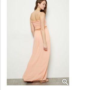 "Peach smocked cutout maxi dress. 47"" length"